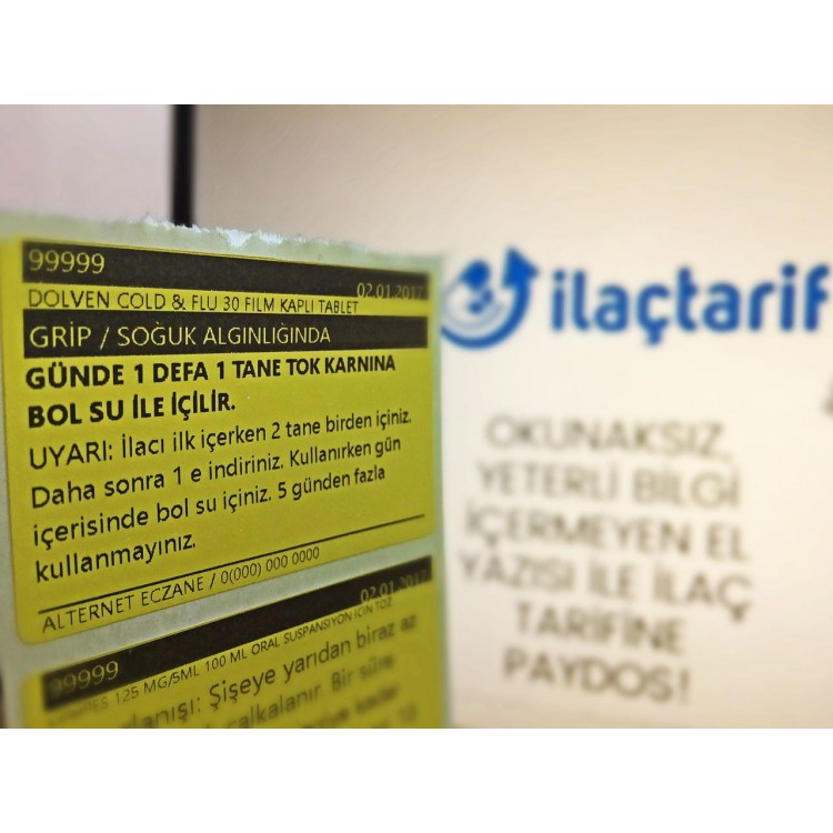 İlaçTarif Etiketi 10 Rulo ( 1000 Adet Sarımlı )  40mm X 60mm Sarı Zemin Etiket